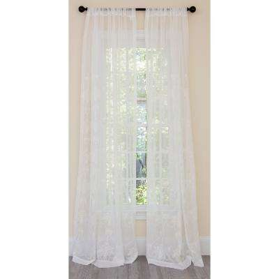 Lillie Embroidered Sheer Rod Pocket Single Curtain Panel in White - 54 in. x 120 in.