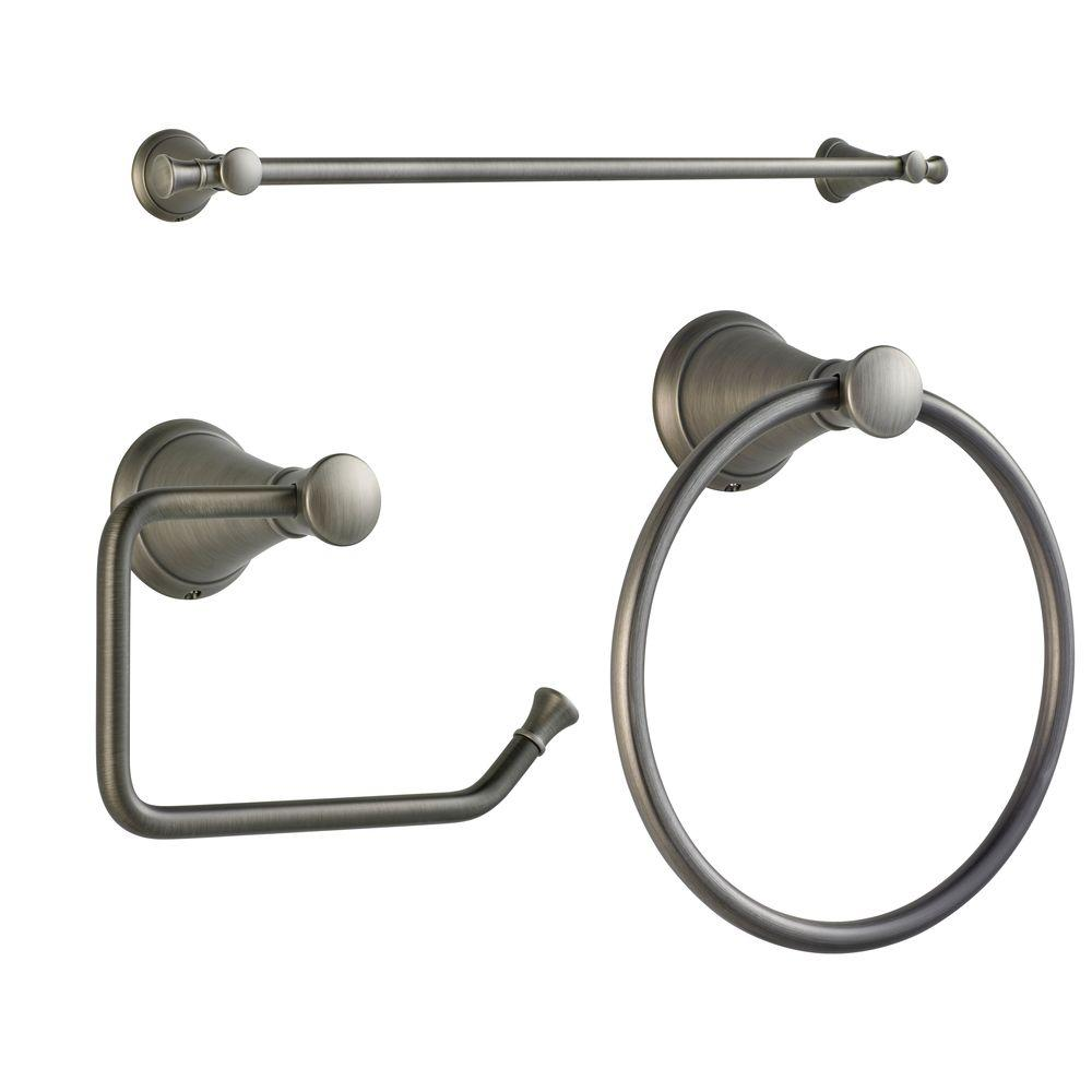 Pfister Pasadena 24 in. Towel Bar, Single Post Toilet Paper Holder and Towel Ring Kit in Slate, Grey Pfister Pasadena 24 in. Towel Bar, Single Post Toilet Paper Holder and Towel Ring Kit in Slate, Grey