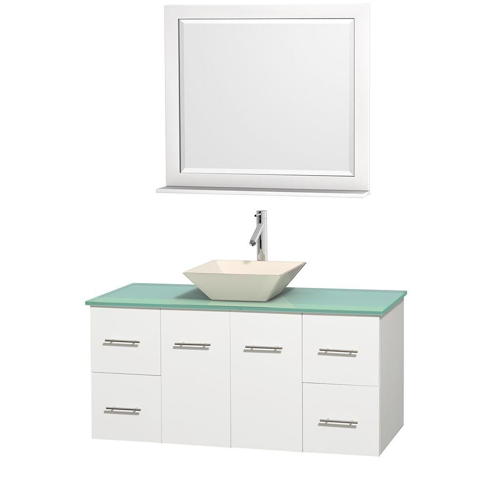 Wyndham Collection Centra 48 in. Vanity in White with Glass Vanity Top in Green, Bone Porcelain Sink and 36 in. Mirror