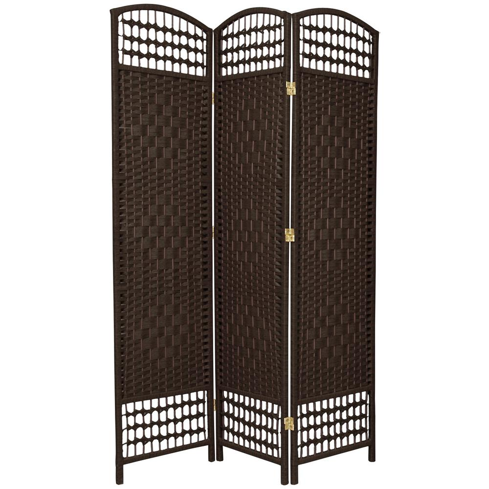 6 ft. Dark Mocha 3-Panel Room Divider