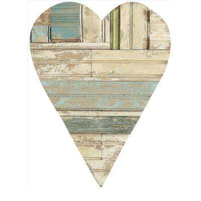 "20.25 in. H x 13.75 in. W ""Distressed Wood Heart"" Wall Art"