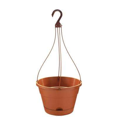 13 in. Round Light Terra Cotta Resin Self-Watering Hanging Basket