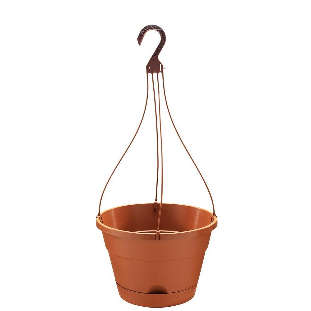13 in. Round Light Terra Cotta Resin Self-Watering Hanging Basket
