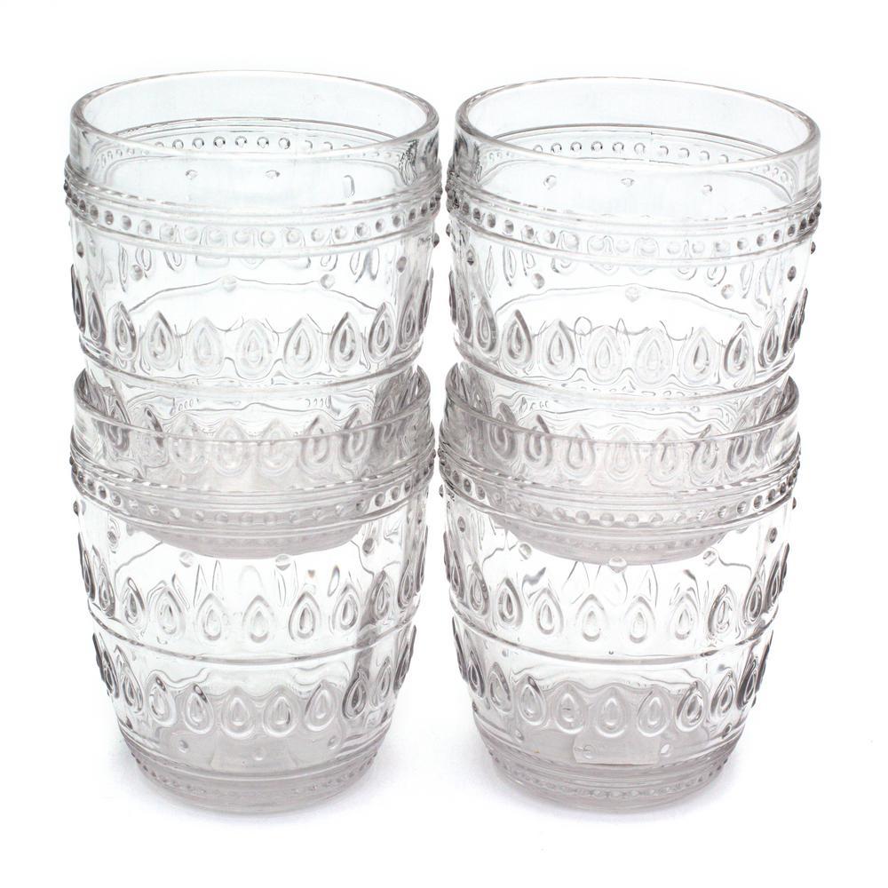 Euro Ceramica Fez 4-Piece 12oz. Clear Old Fashion Glass Set GL-FZ81156CL