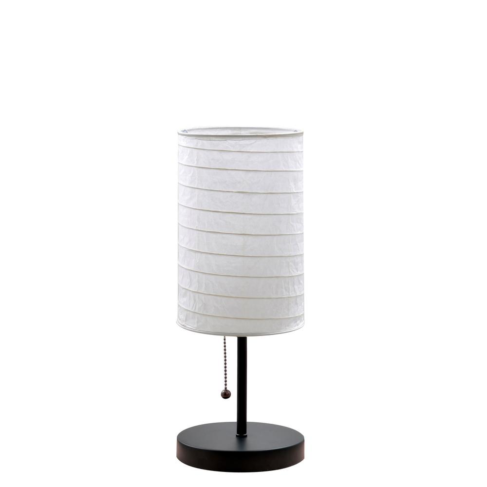 15 In Black Metal Stick Table Lamp With Rice Paper Shade 18582 000