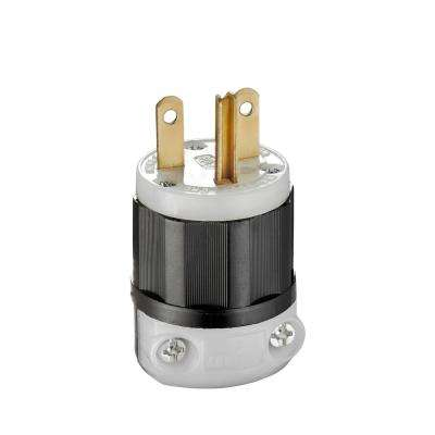 15 Amp 250-Volt NEMA Industrial-Grade Straight Blade Plug, Black and White