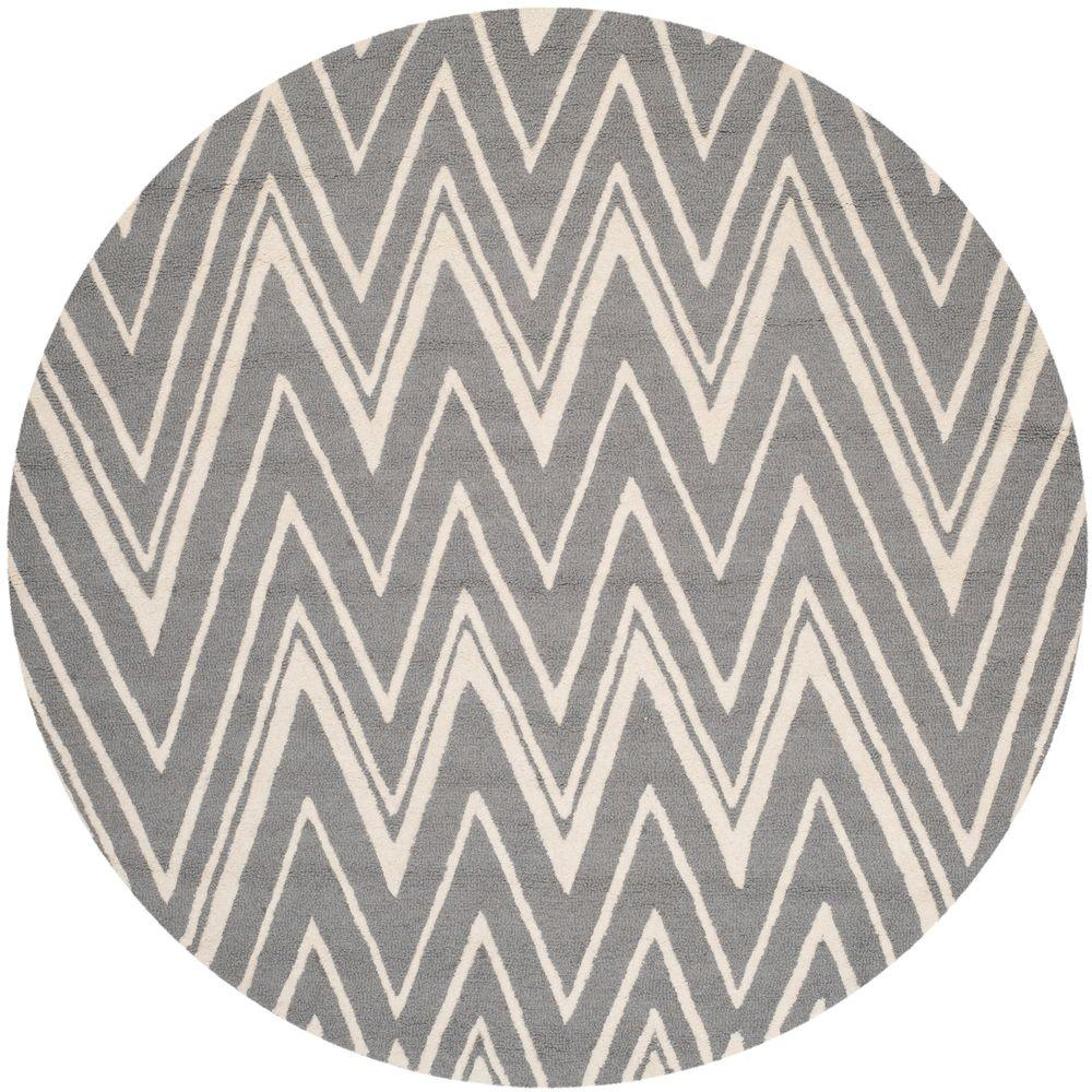 Cambridge Dark Gray/Ivory 4 ft. x 4 ft. Round Area Rug