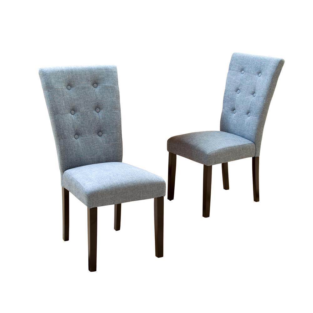 Phenomenal Noble House Angelina Denim Blue Fabric Dining Chairs Set Of Inzonedesignstudio Interior Chair Design Inzonedesignstudiocom
