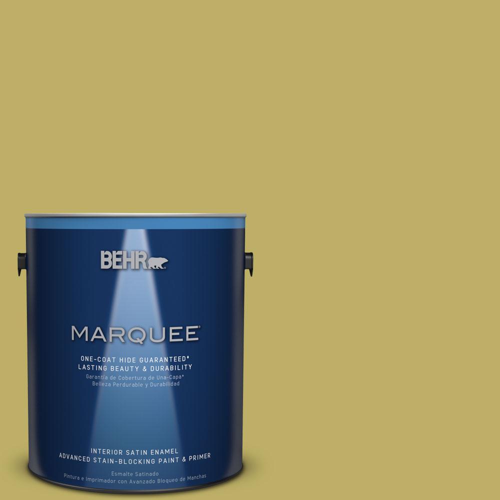 BEHR MARQUEE 1 gal. #MQ4-42 Pistachio One-Coat Hide Satin Enamel Interior Paint