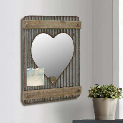 15 in. x 20 in. Silver Corrugated Metal and Wood Heart Shaped Wall Mirror Decor