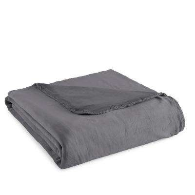 Twin Plush Gunmetal Polyester Ultra Soft Blanket