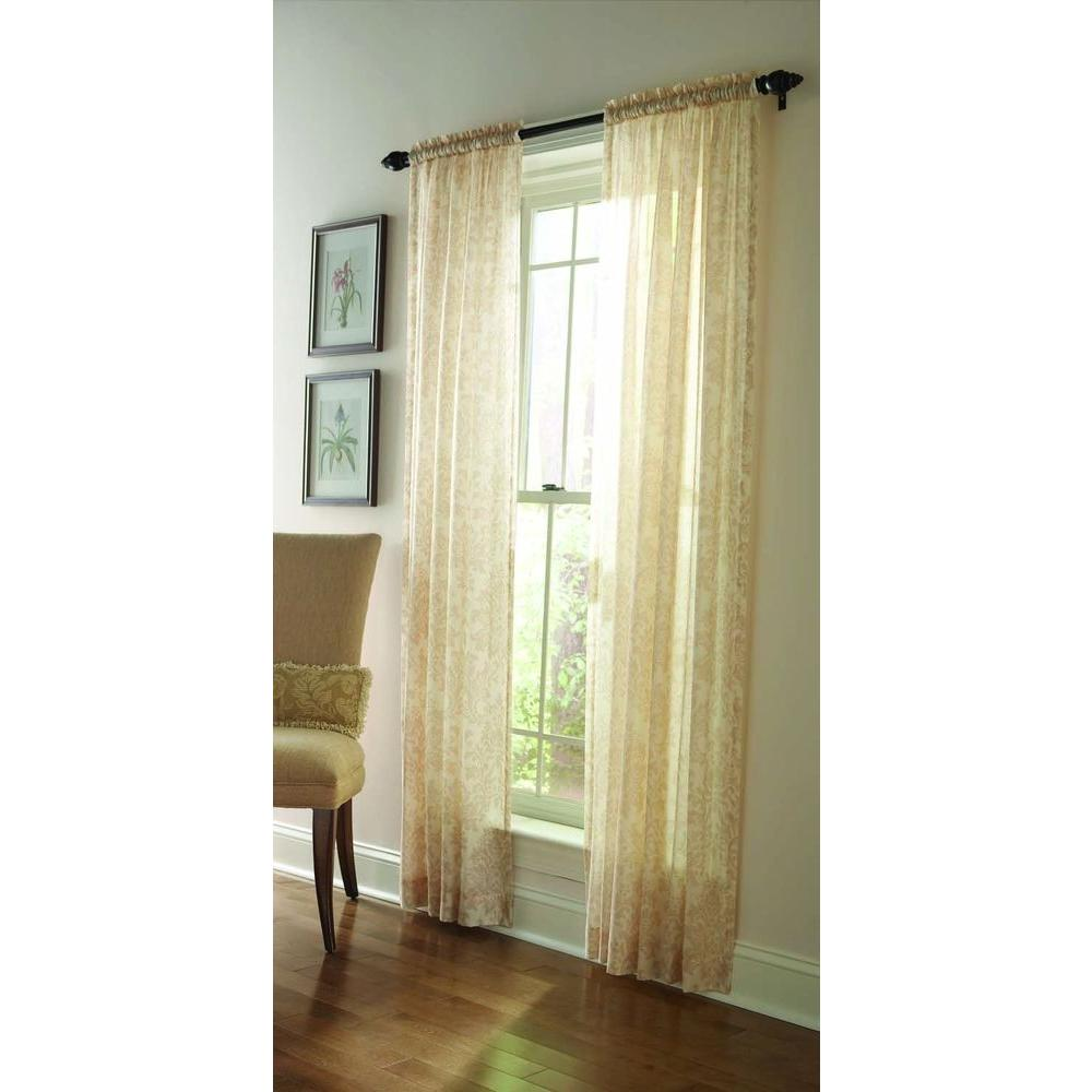 Martha Stewart Living Sheer Buckwheat Flour Sheer Damask Curtain-95 in. Length DISCONTINUED