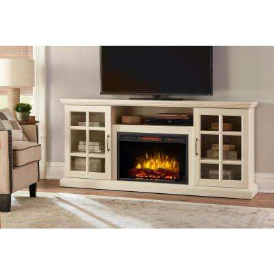Edenfield 70 in. Freestanding Infrared Electric Fireplace TV Stand in Aged White