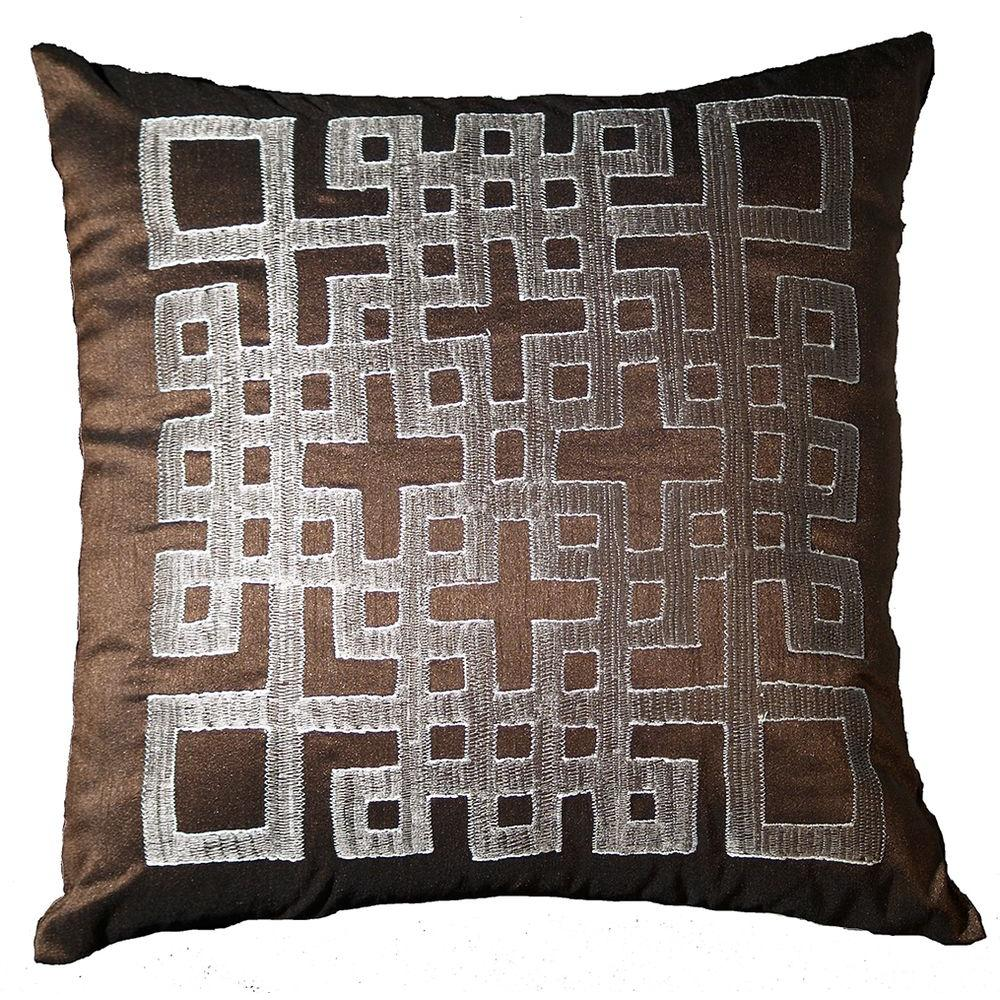 LR Resources Contemporary Ando Chocolate 18 in. x 18 in. Square Decorative Accent Pillow (2-Pack)