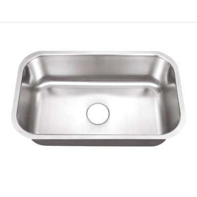 Undermount Stainless Steel 30 in. 0-Hole Single Basin Kitchen Sink