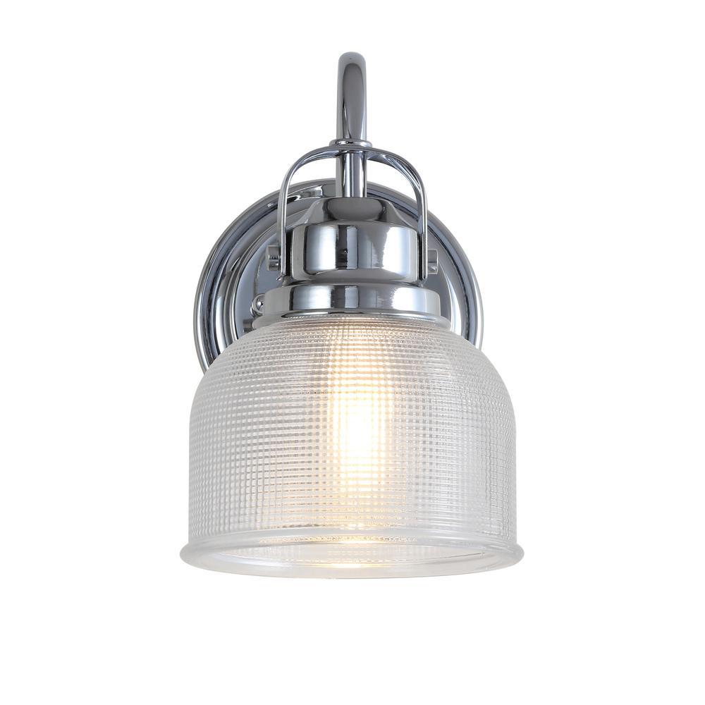 Virginia 5.75 in. 1-Light Metal/Glass LED Chrome Vanity Light