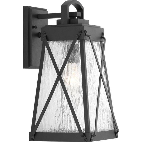 Creighton Collection 1-Light Black 15.75 in. Outdoor Wall Lantern Sconce