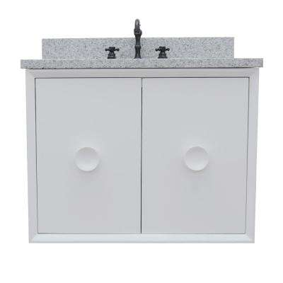 Stora 31 in. W x 22 in. D Wall Mount Bath Vanity in White with Granite Vanity Top in Gray with White Oval Basin