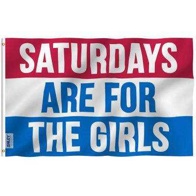 Fly Breeze 3 ft. x 5 ft. Polyester Saturdays Are For The Girls Flag 2-Sided Banner with Brass Grommets and Canvas Header