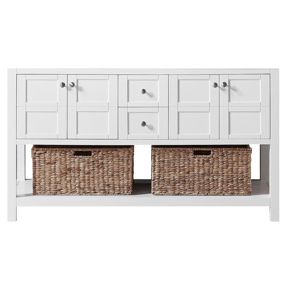 Makena 60 in. W x 22 in. D x 34.2 in. H Bath Vanity Cabinet Only in White