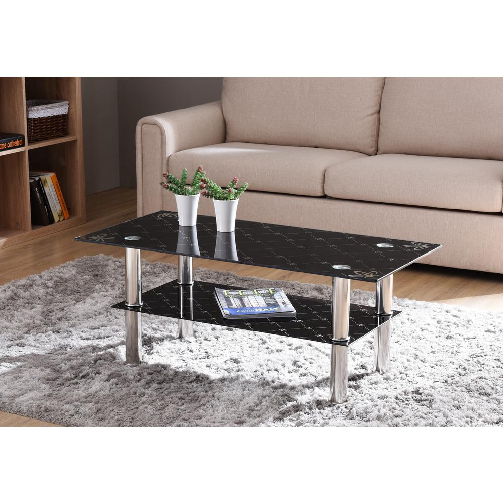 Exceptionnel Hodedah Black Rectangular Tempered Glass 2 Tier Coffee Table With Chrome  Plated Legs