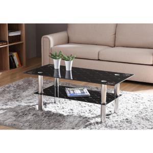 Black Rectangular Tempered Glass 2 Tier Coffee Table With Chrome Plated Legs