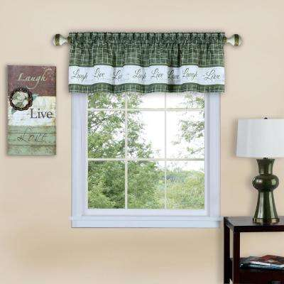 Live, Love, Laugh 14 in. L Polyester Valance in Green