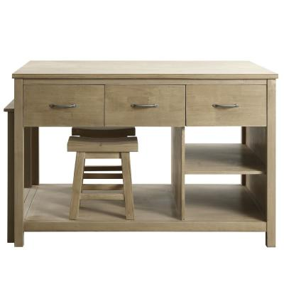 Garrett Natural Kitchen Island with Slide Out Table