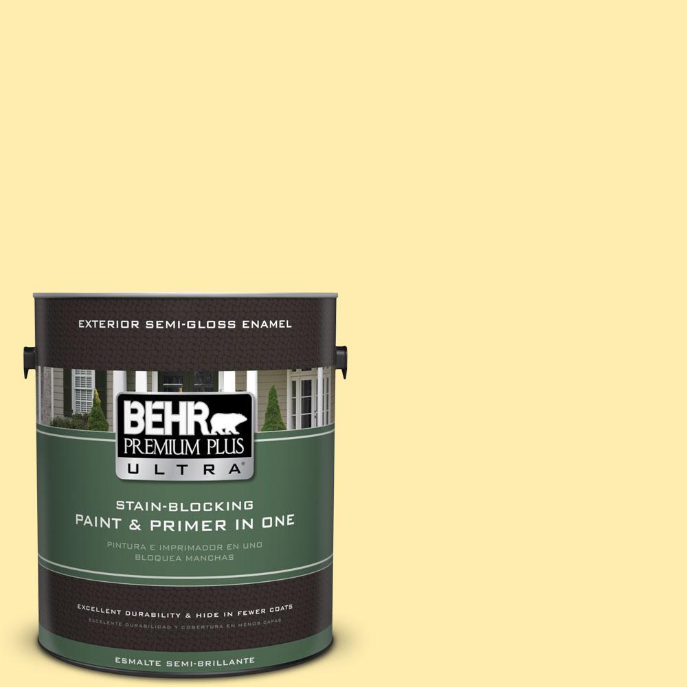 BEHR Premium Plus Ultra 1-gal. #370A-2 Pale Daffodil Semi-Gloss Enamel Exterior Paint