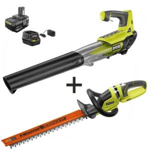 100 MPH 280 CFM ONE+ 18-Volt Lithium-Ion Cordless Jet Fan Leaf Blower and Hedge Trimmer 4.0 Ah Battery/Charger Included