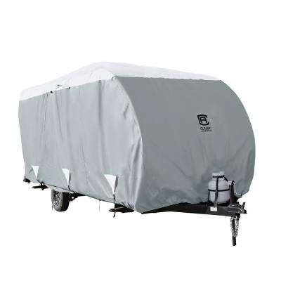 OverDrive PolyPRO3 254 in. L x 105 in. W x 93 in. H Deluxe Sloped Travel Trailer Cover in Grey/Snow White