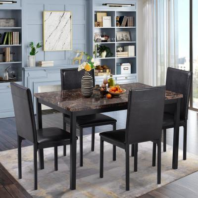 Black 5-Piece Faux Mable and PU Leather Dining Set