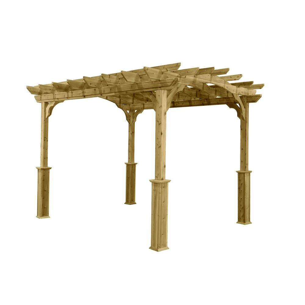 null 10 ft. x 12 ft. Wood Pergola - 10 Ft. X 12 Ft. Wood Pergola-PA1012 - The Home Depot