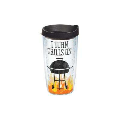 I Turn Grills on 16 oz. Clear Tumbler with Lid