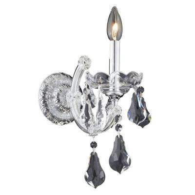 1-Light Chrome Sconce with Clear Crystal