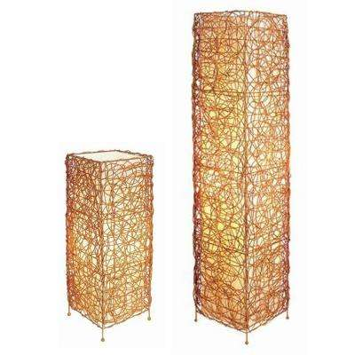 23 in. Rectangle Rattan Lamp Set Tan Table Lamp with Floor Lamp