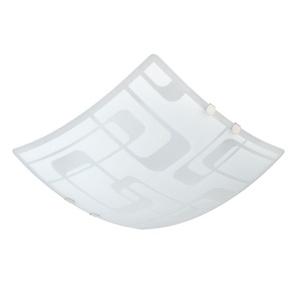 Globe Electric Decorative 12 in. Frosted Designed Glass Ceiling Flushmount