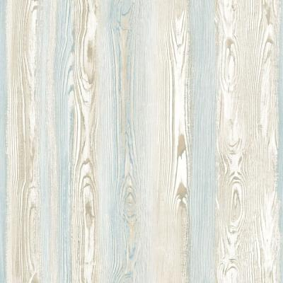 56.4 sq. ft. Cady Beige Wood Panel Strippable Wallpaper