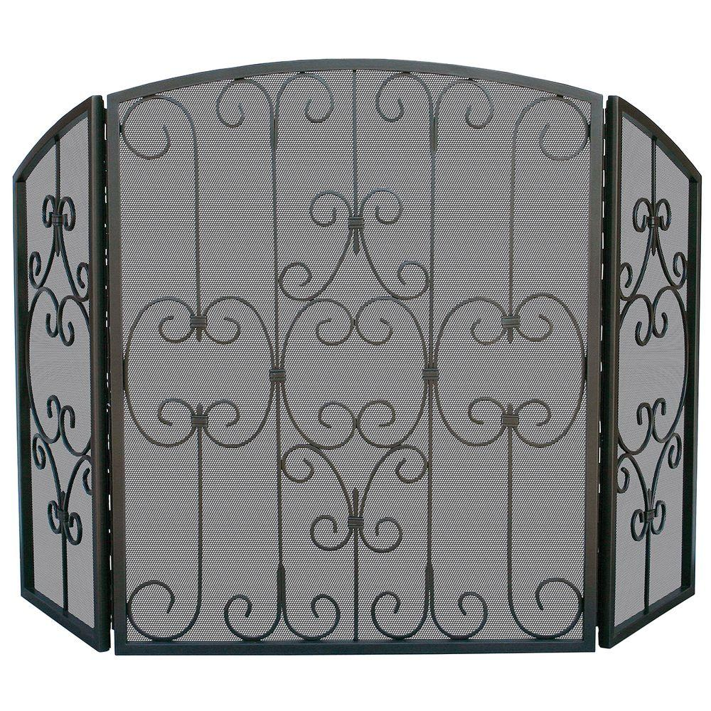 UniFlame - Graphite 3-Panel Fireplace Screen with Decorative Scrollwork - It features a steel frame with heavy mesh and a graphite finish. The three panel designs are great for accommodating larger hearths.