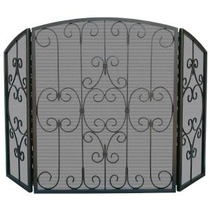 uniflame fireplace. Graphite 3 Panel Fireplace Screen with Decorative Scrollwork UniFlame Black Wrought Iron S 1122  The