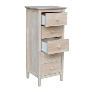 International Concepts Brooklyn 5 Drawer Unfinished Wood Chest