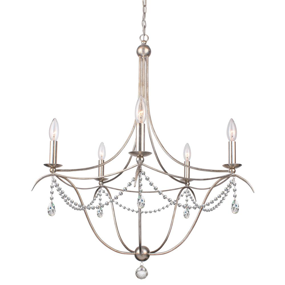 5-Light Antique Silver Chandelier - 5-Light Antique Silver Chandelier-415-SA-CL-MWP - The Home Depot