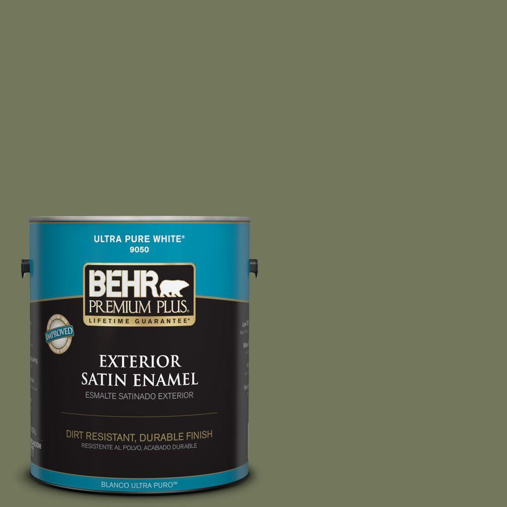 BEHR Premium Plus 1-gal. #BIC-56 Jalapeno Satin Enamel Exterior Paint
