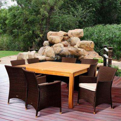 Jordison 9-Piece Teak Square Patio Dining Set with Off-White Cushions