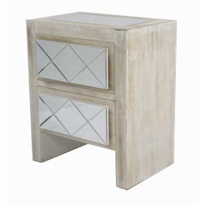 Shelly Assembled 19.6x19.6x13.8 in. Accent Storage Cabinet with Mirrored Glass and 2 Drawers in White Washed Wood