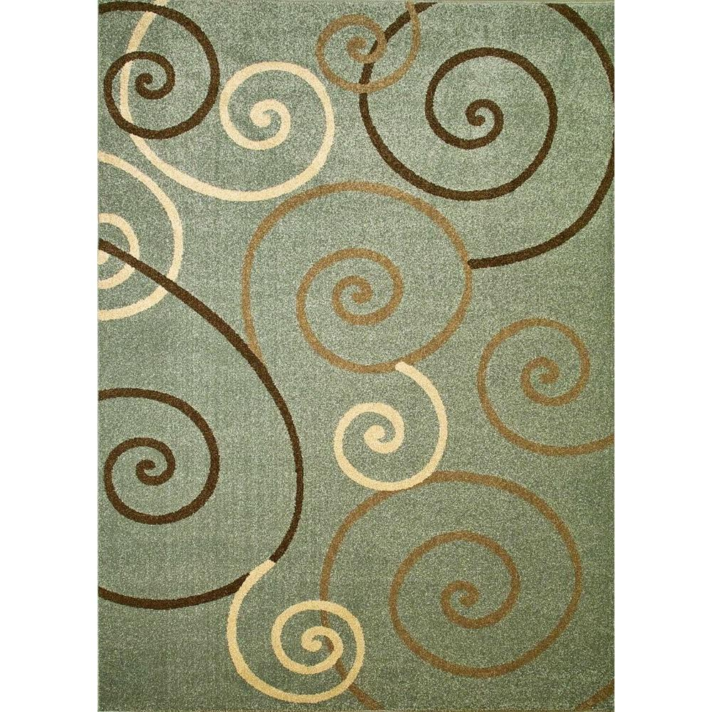Chester Scroll Blue 3 ft. 3 in. x 4 ft. 7