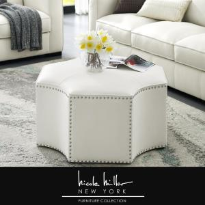 Pleasing Nicole Miller Joziah White Pu Leather Cocktail Ottoman With Cjindustries Chair Design For Home Cjindustriesco