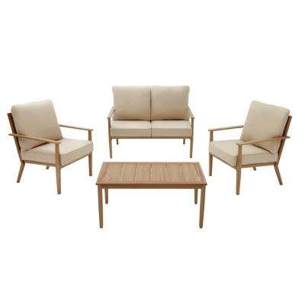 Alderton 4-Piece Brown Metal Outdoor Patio Conversation Deep Seating Set with Sunbrella Beige Tan Cushions