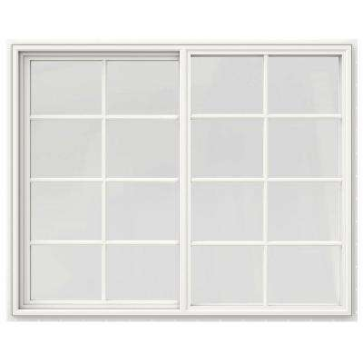 59.5 in. x 47.5 in. V-4500 Series White Vinyl Right-Handed Sliding Window with Colonial Grids/Grilles