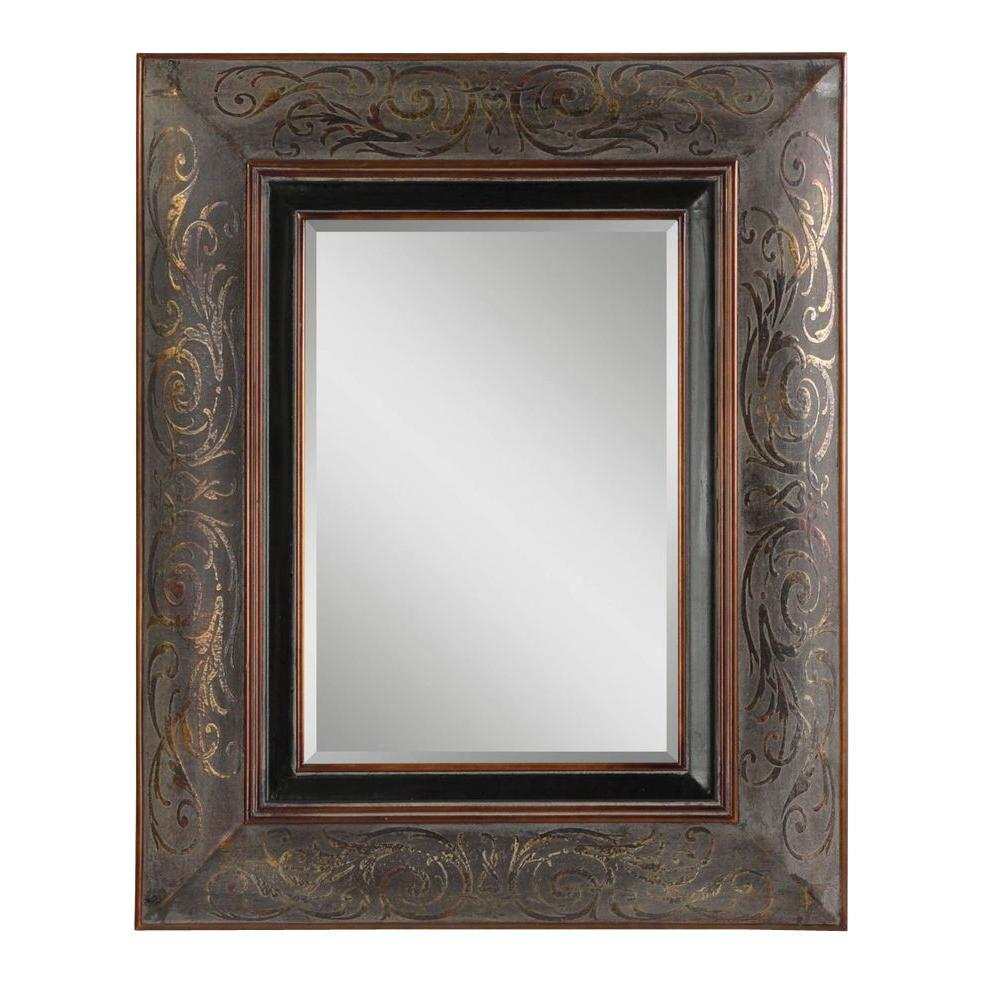 Home Decorators Collection 42.5 in. x 34.5 in. Rustic Bronze Rectangle Framed Mirror